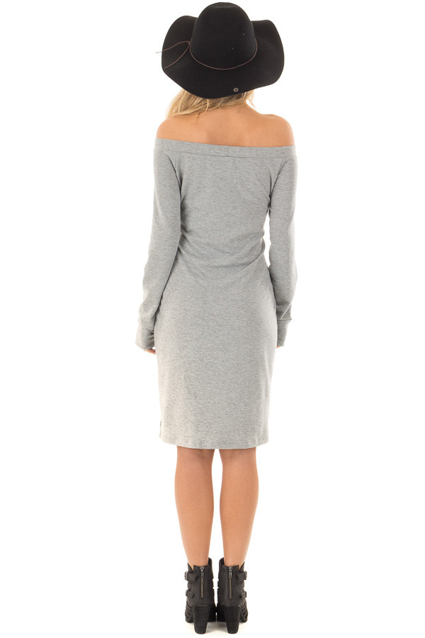 Heather Grey Off the Shoulder Dress with Waist Tie back full body