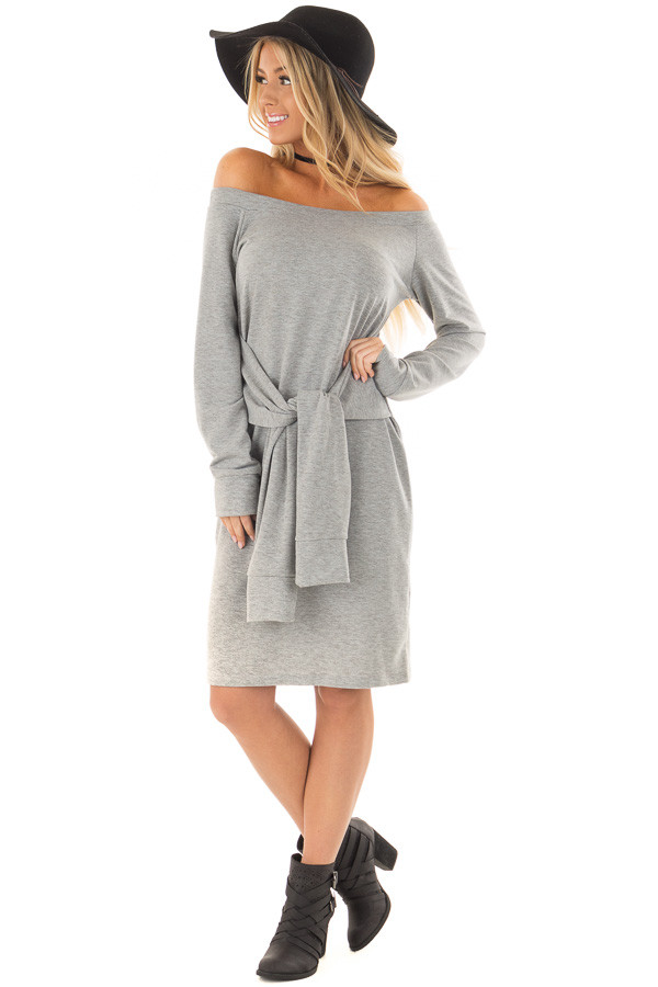 Heather Grey Off the Shoulder Dress with Waist Tie front full body