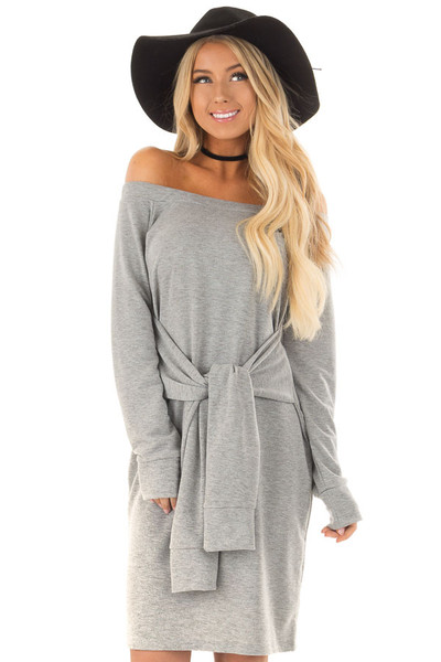 Heather Grey Off the Shoulder Dress with Waist Tie front close up