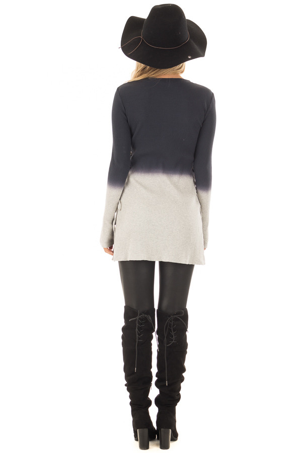Charcoal Dip Dye Ribbed Knit Top with Lace Up Sides back full body