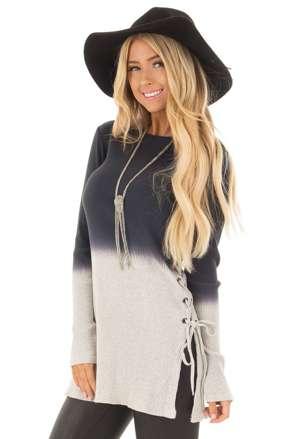 Charcoal Dip Dye Ribbed Knit Top with Lace Up Sides front close up