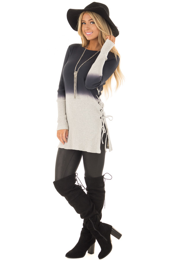 Charcoal Dip Dye Ribbed Knit Top with Lace Up Sides front full body