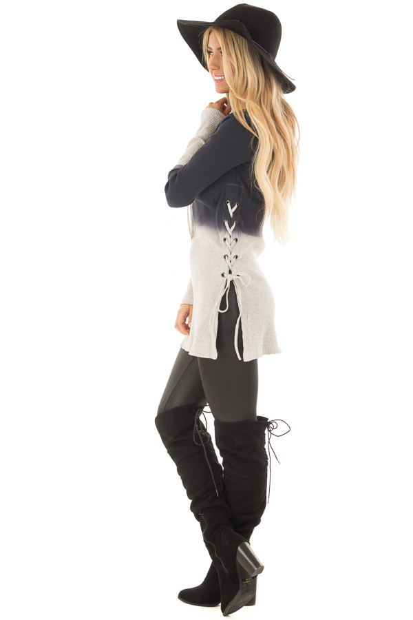Charcoal Dip Dye Ribbed Knit Top with Lace Up Sides side full body