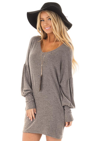Grey Soft Knit Tunic with Bubble Sleeves and Side Pockets front close up
