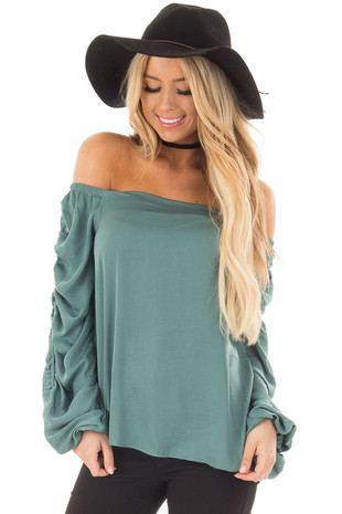 Teal Off the Shoulder Top with Long Gathered Sleeves front close up