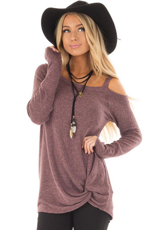 Plum Soft Cold Shoulder Top with Twist Detail front close up