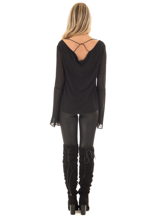 Black Bell Sleeve Top with Strap Details back full body