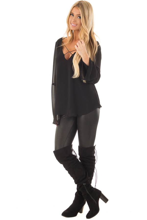 Black Bell Sleeve Top with Strap Details front full body