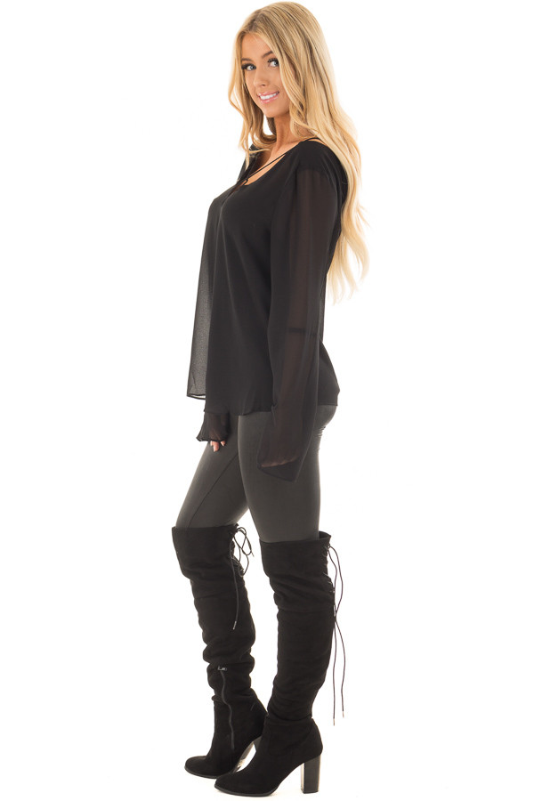 Black Bell Sleeve Top with Strap Details side full body