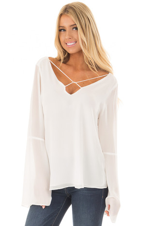 Off White Bell Sleeve Top with Strap Details front close up