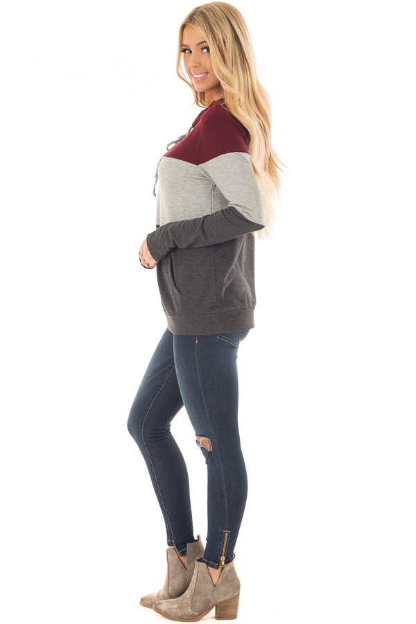 Burgundy Color Block Hoodie with Kangaroo Pocket side full body