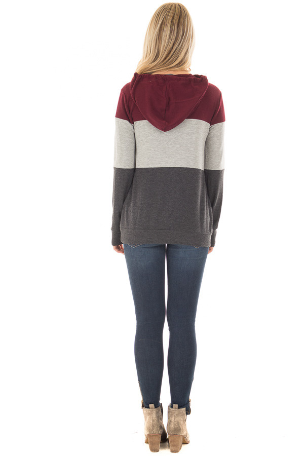 Burgundy Color Block Hoodie with Kangaroo Pocket back full body
