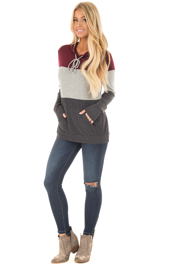 Burgundy Color Block Hoodie with Kangaroo Pocket front full body