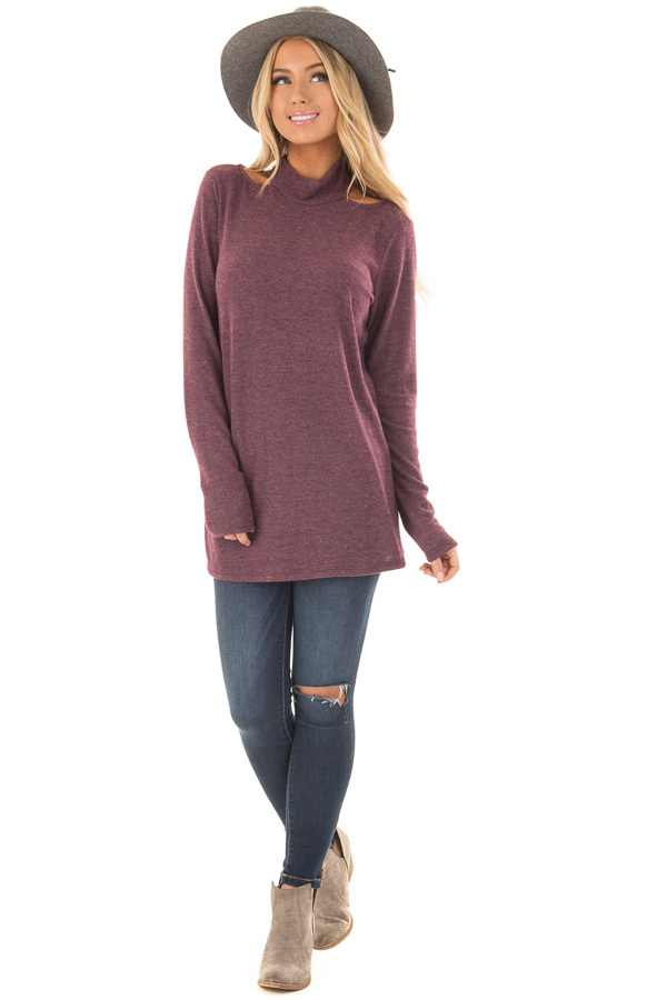 Burgundy Soft Mock Neck Top with Cut Out Details front full body