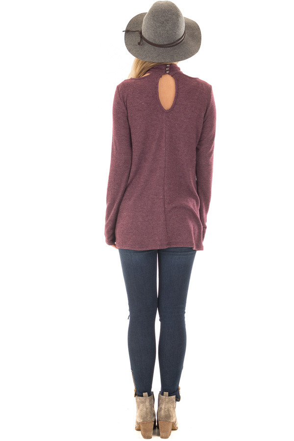 Burgundy Soft Mock Neck Top with Cut Out Details back full body