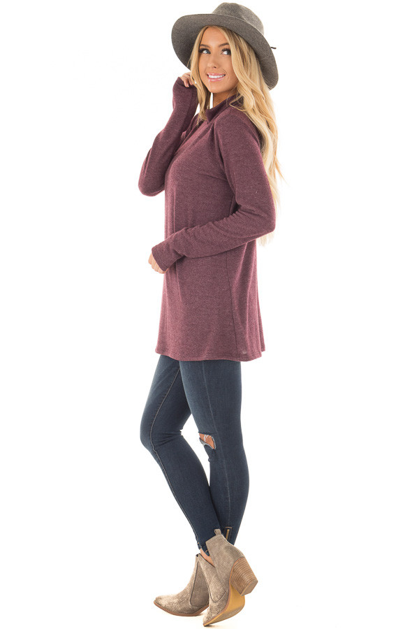 Burgundy Soft Mock Neck Top with Cut Out Details side full body