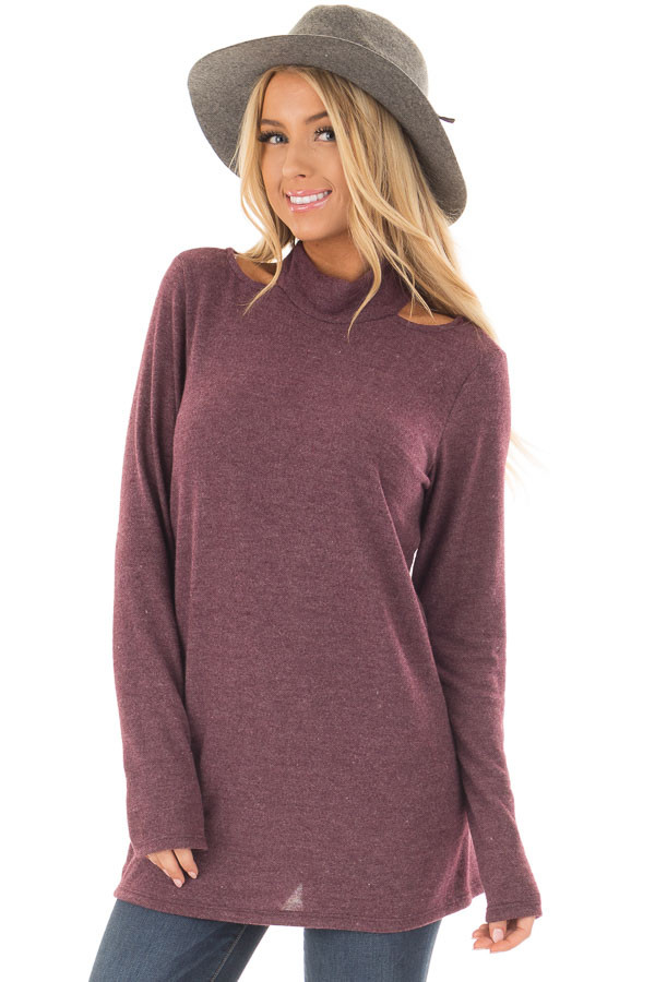 Burgundy Soft Mock Neck Top with Cut Out Details front close up