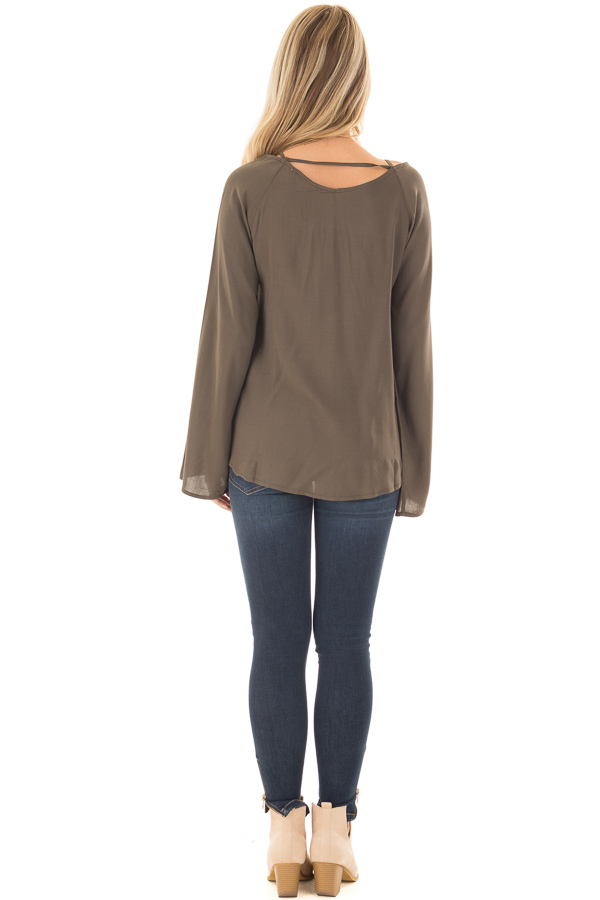 Olive Wide Sleeve Wrap Top with Lace Up Neckline back full body