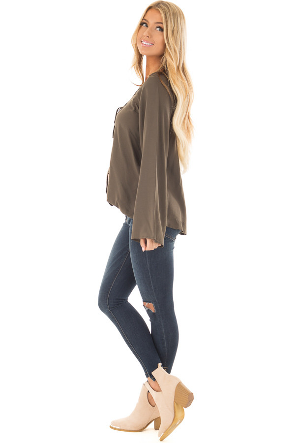 Olive Wide Sleeve Wrap Top with Lace Up Neckline side full body