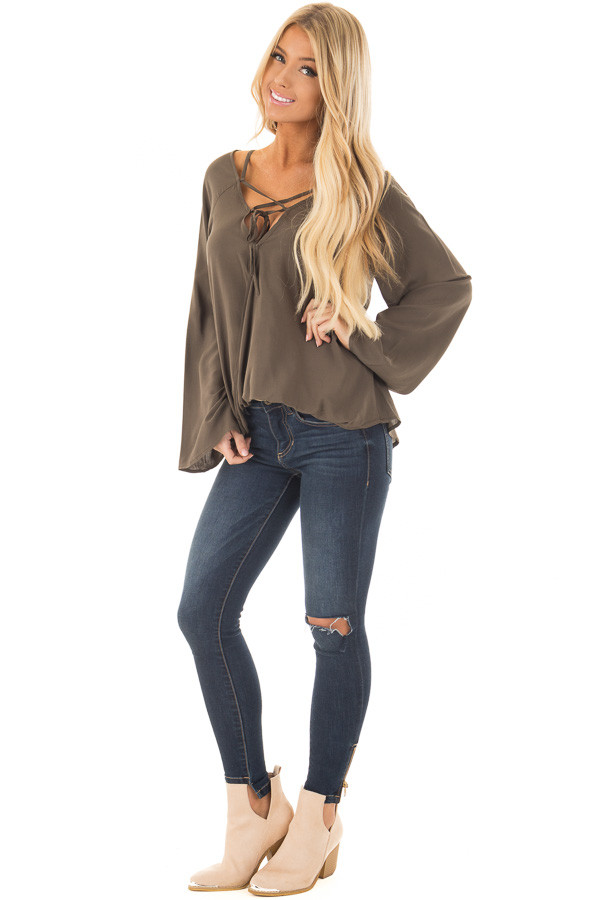 Olive Wide Sleeve Wrap Top with Lace Up Neckline front full body