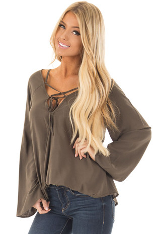 Olive Wide Sleeve Wrap Top with Lace Up Neckline front close up