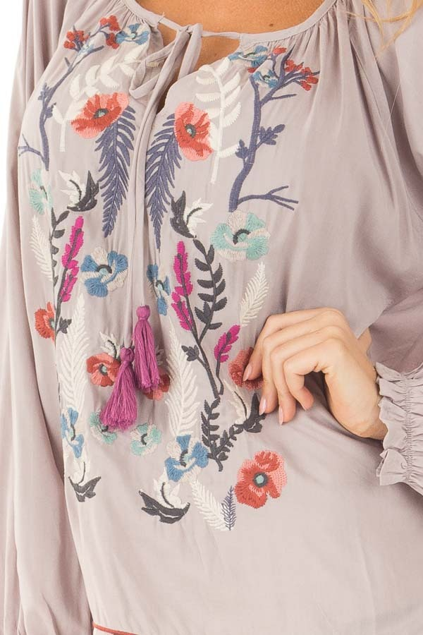 Light Grey Blouse with Colorful Detailed Embroidery detail