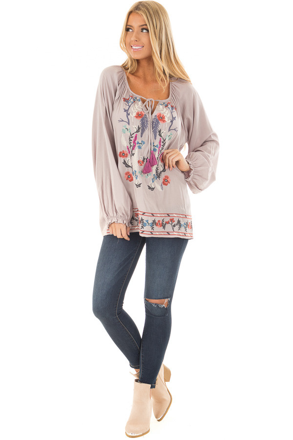 Light Grey Blouse with Colorful Detailed Embroidery front full body