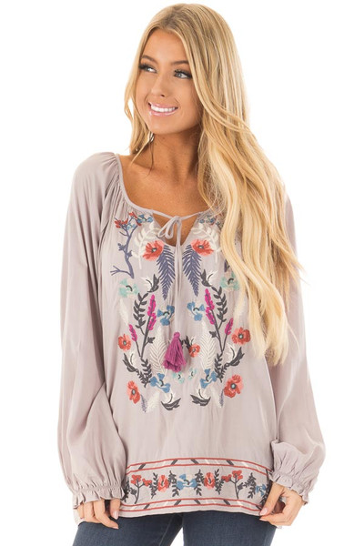 Light Grey Blouse with Colorful Detailed Embroidery front close up