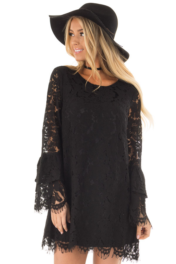 Black Sheer Lace Dress with Tiered Bell Sleeves front close up