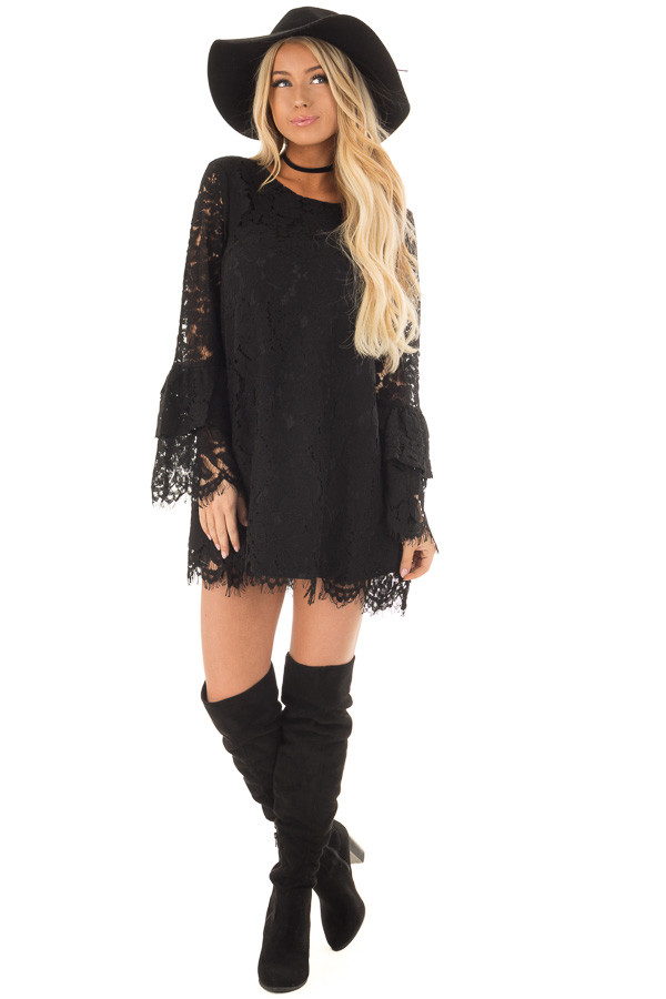 Black Sheer Lace Dress with Tiered Bell Sleeves front full body