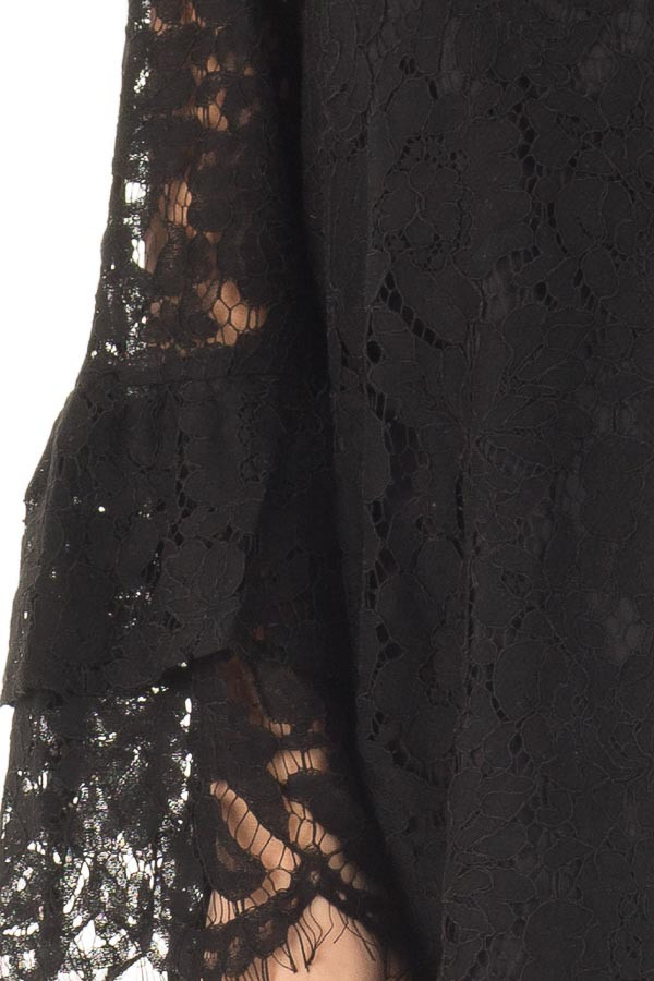 Black Sheer Lace Dress with Tiered Bell Sleeves detail