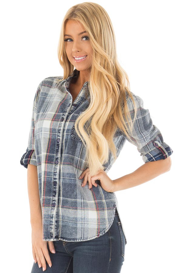 Faded Denim Plaid Button Up Shirt with Roll Up Sleeves front close up