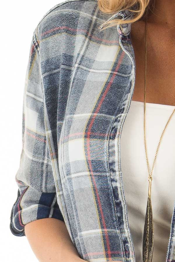 Faded Denim Plaid Button Up Shirt with Roll Up Sleeves detail