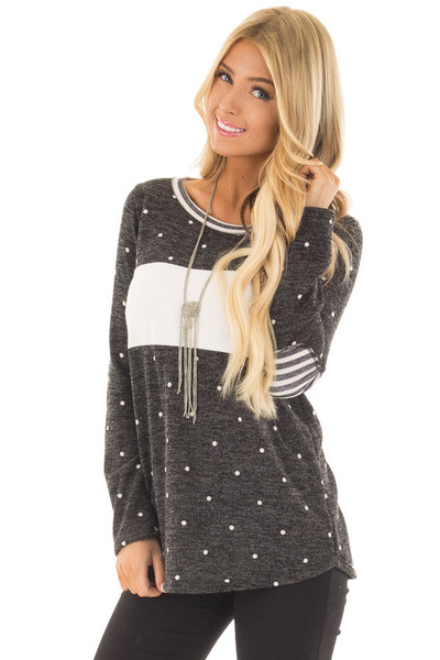 Charcoal Color Block Top with Ivory Polka Dots and Stripes front close up