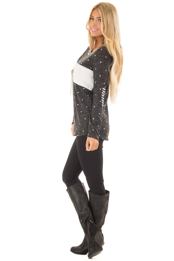 Charcoal Color Block Top with Ivory Polka Dots and Stripes side full body