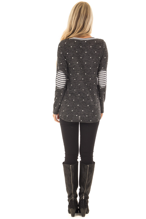 Charcoal Color Block Top with Ivory Polka Dots and Stripes back full body