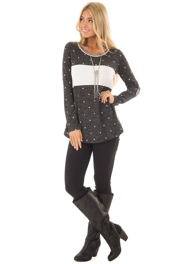 Charcoal Color Block Top with Ivory Polka Dots and Stripes front full body