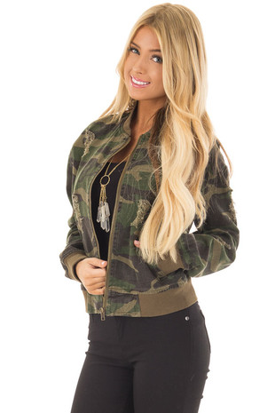 Camo Distressed Bomber Jacket front full body