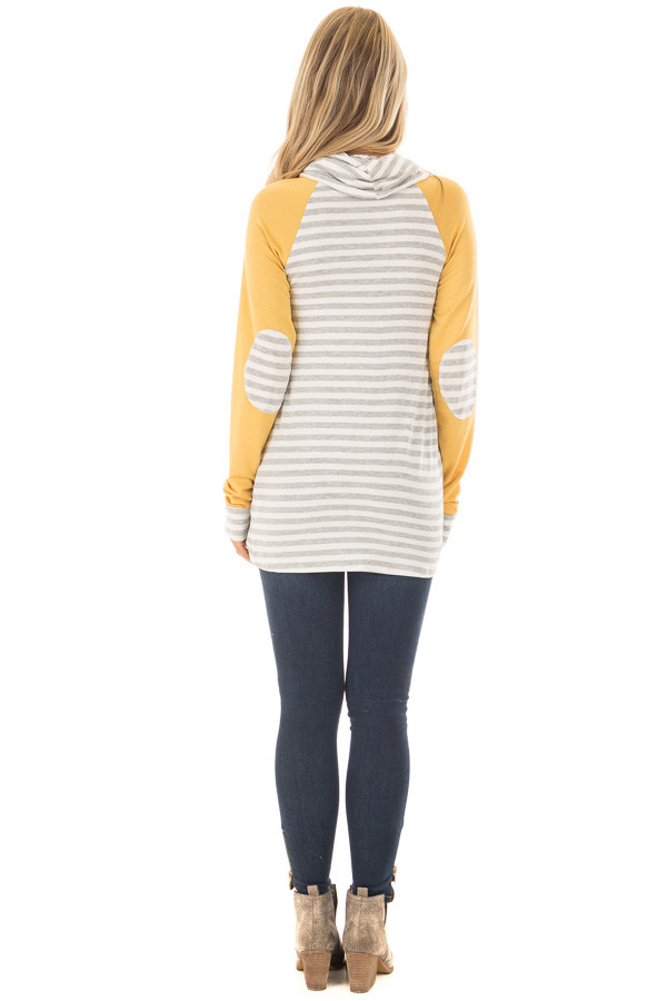 Heather Grey Striped Cowl Neck Top with Mustard Contrast back full body