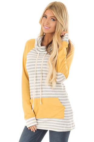 Heather Grey Striped Cowl Neck Top with Mustard Contrast front closeup