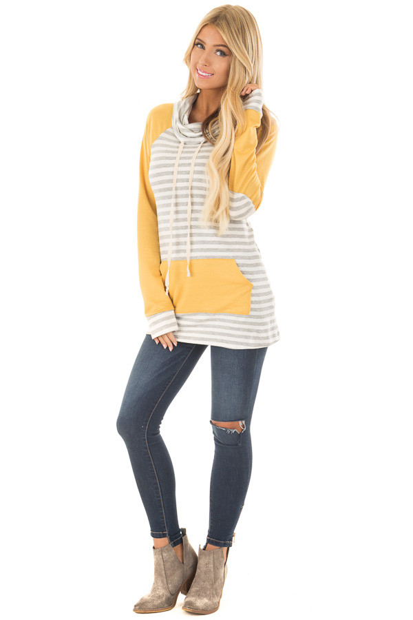 Heather Grey Striped Cowl Neck Top with Mustard Contrast front full body