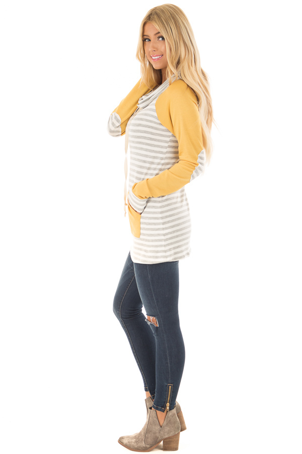 Heather Grey Striped Cowl Neck Top with Mustard Contrast side full body