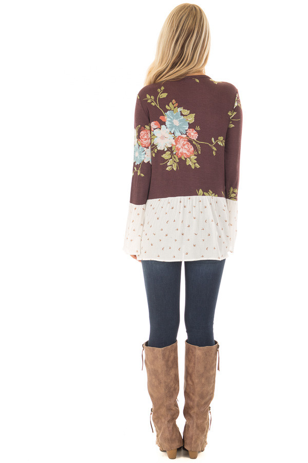 Burgundy Floral Print Top with Bird Print Contrast back full body