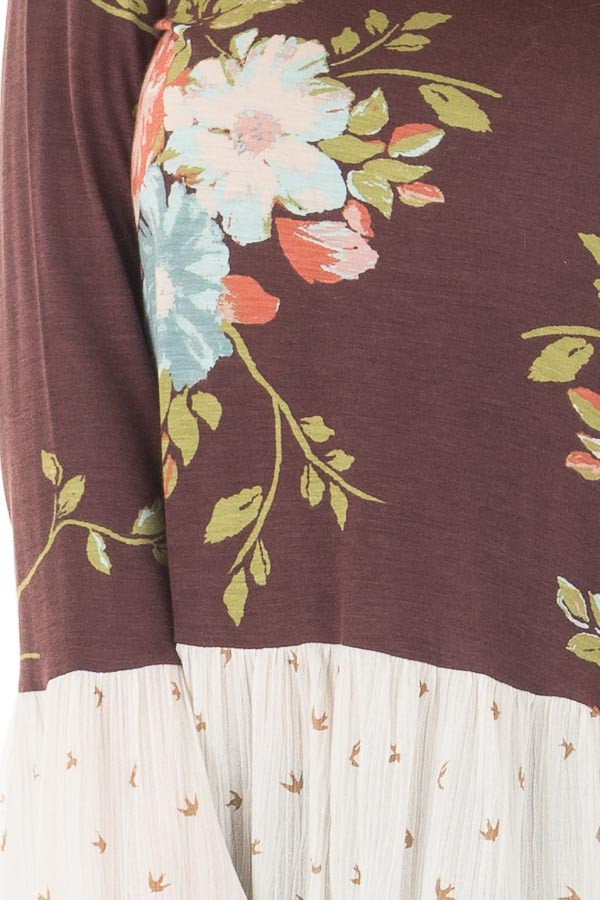 Burgundy Floral Print Top with Bird Print Contrast front detail