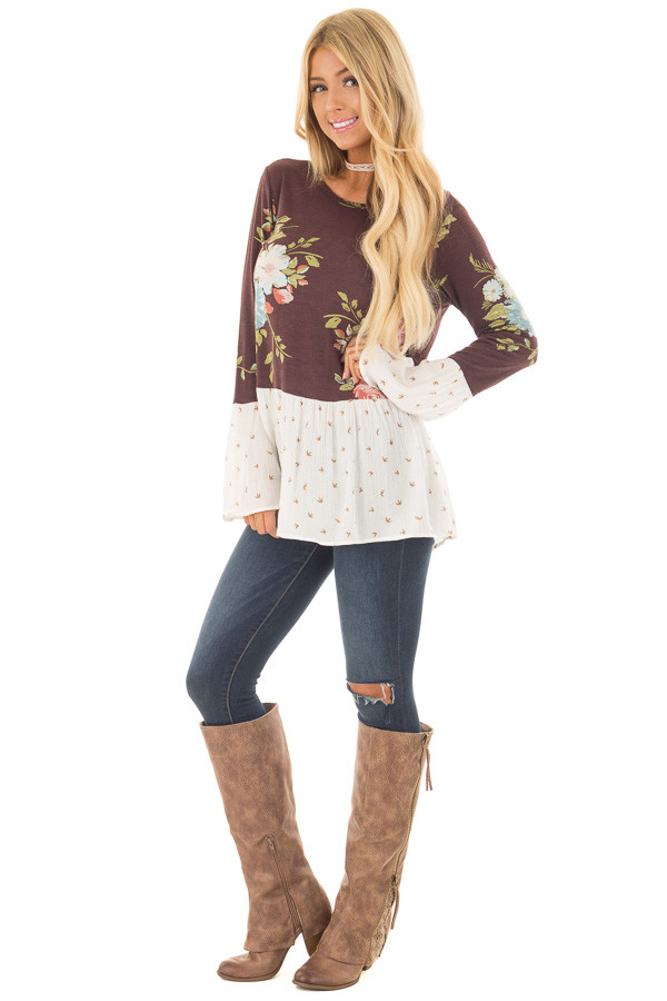 Burgundy Floral Print Top with Bird Print Contrast front full body