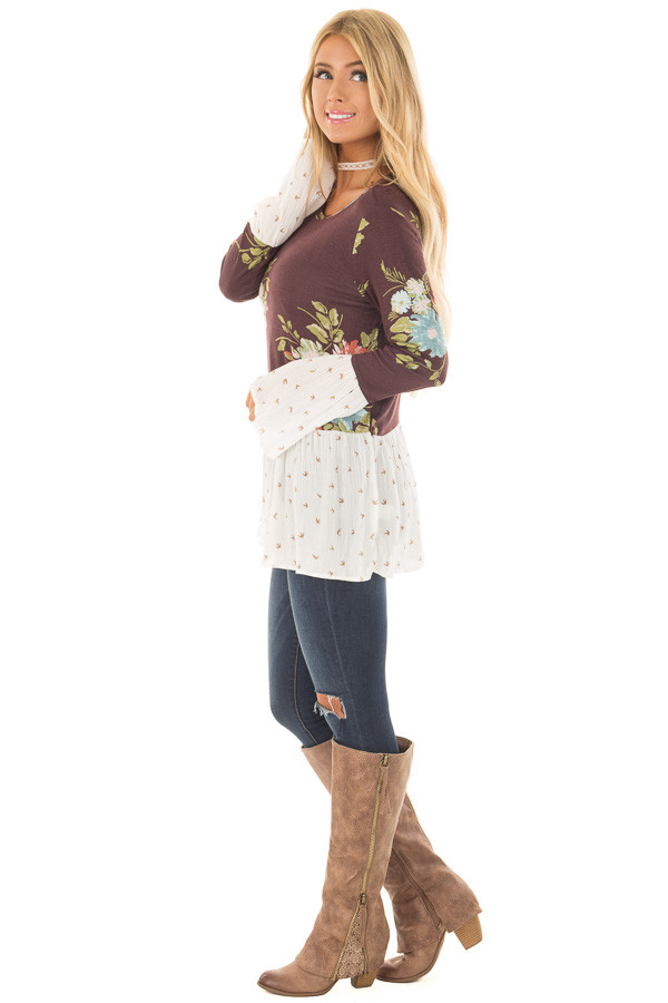 Burgundy Floral Print Top with Bird Print Contrast side full body