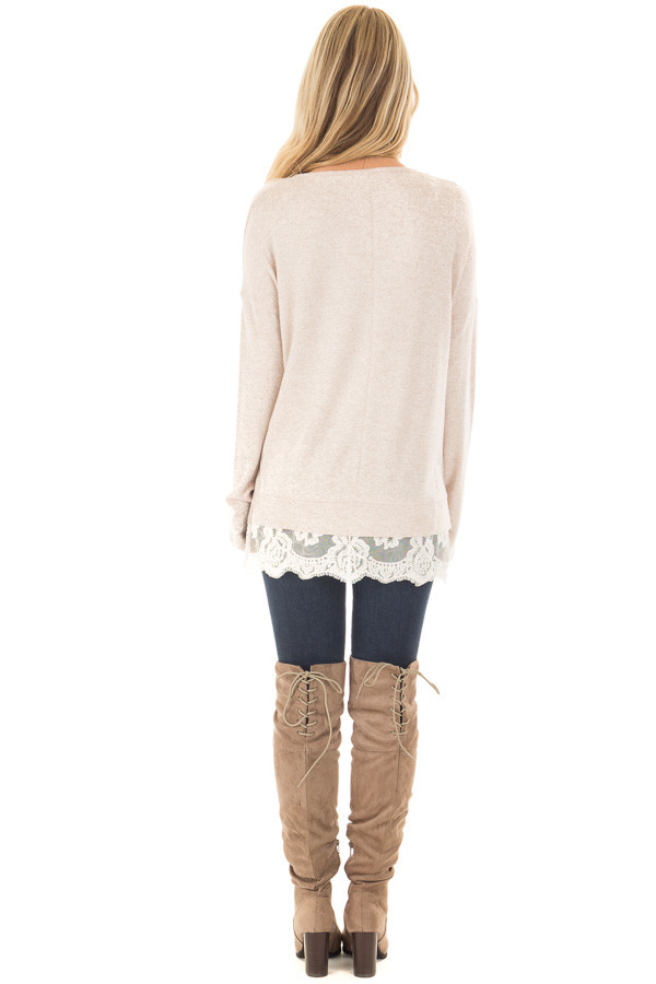 Blush Two Tone Top with Sheer Lace Detail back full body