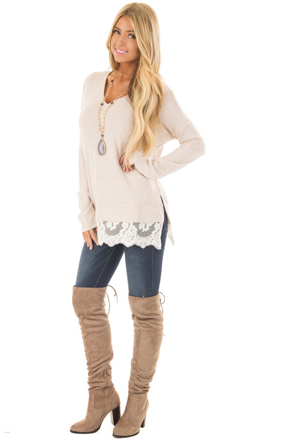 Blush Two Tone Top with Sheer Lace Detail front full body