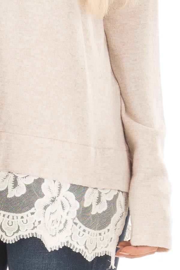 Blush Two Tone Top with Sheer Lace Detail front detail