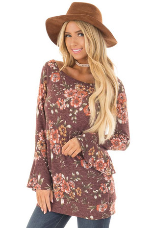 Burgundy Floral Print Boatneck Bell Sleeve Top front closeup